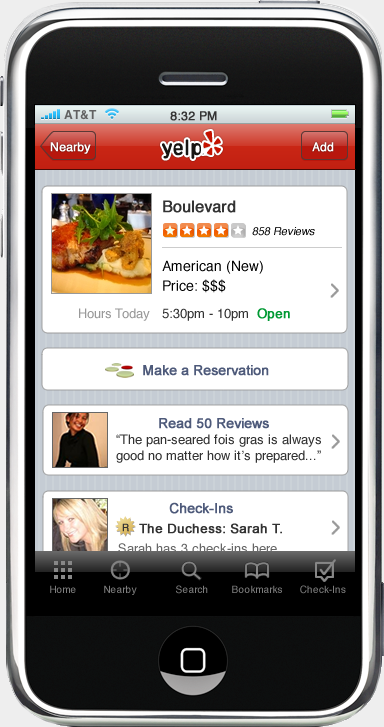 Yelp mobile application